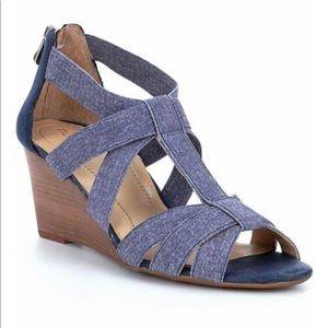 Nurture Terrie denim elastic banded wedge sandals